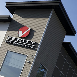 Verity Construction sign on building